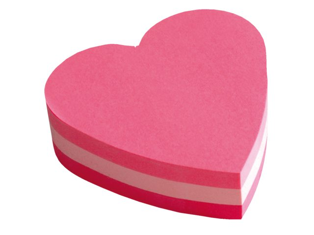 PostIt Heart Shaped Block Pad 70x70mm PK