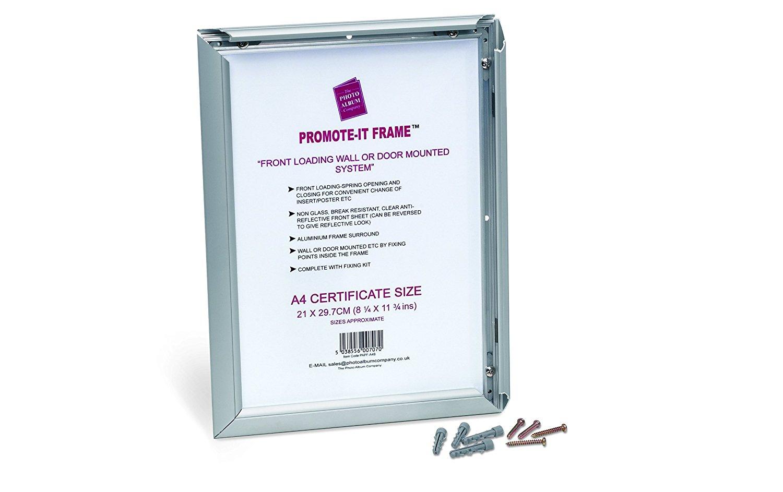 A4 Snap Frame Silver Aluminium Front Loading PAPFA4B
