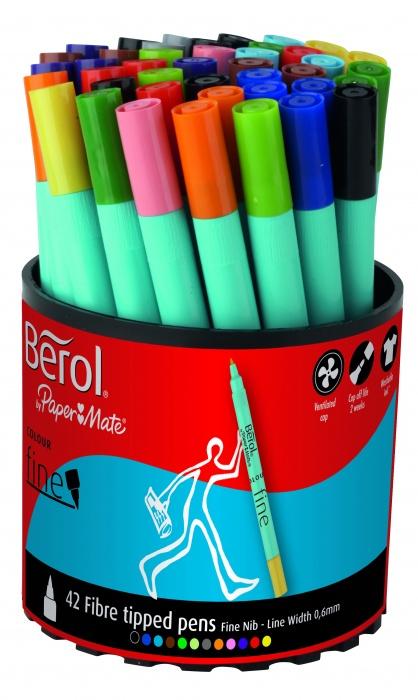 Berol Colourfine Pen Asstd Tub of 42