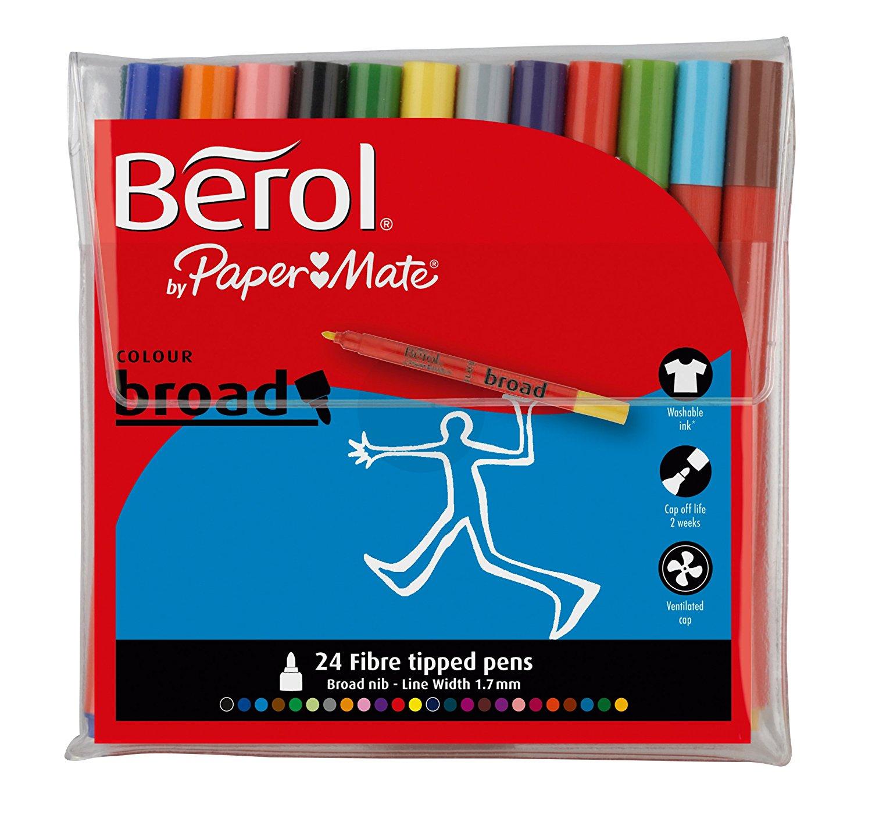 Berol Colour Broad Fibre Tipped 1.7mm Assorted Colours PK24