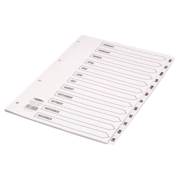 Concord Classic Index Mylar-reinforced Punched 4 Holes Jan-Dec A4 White Ref 02201/CS22
