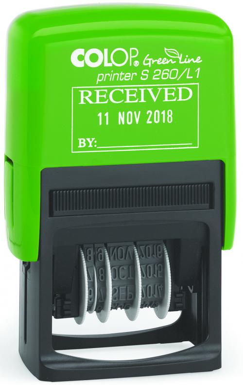 Colop Green Line Date Stamp RECEIVED S260/L1