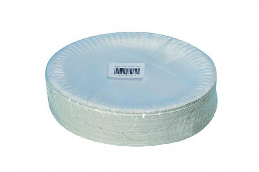 Disposable Tableware ValueX Paper Plates (9 inch) White (Pack 100)