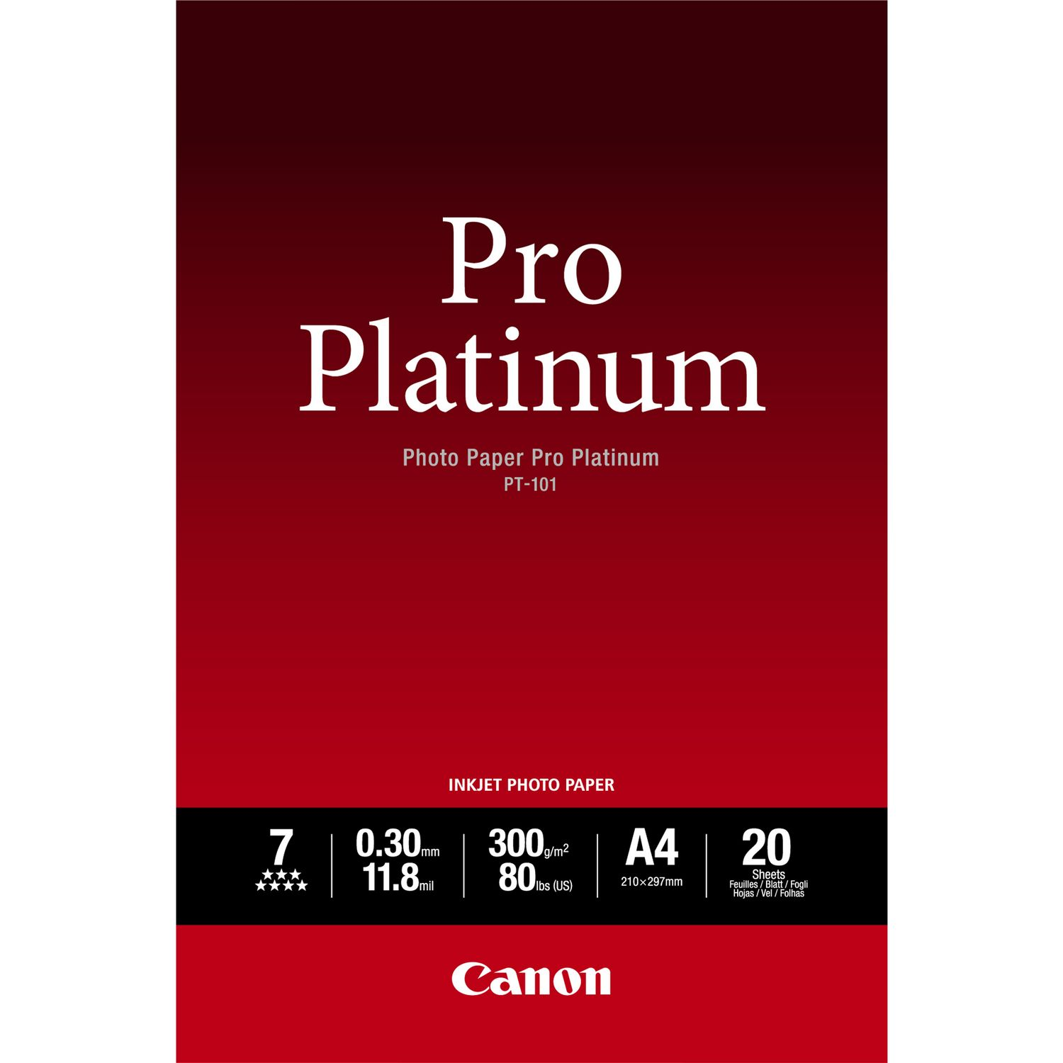 Canon 2768B016 Pro Platinum Photo Paper A4 20 Sheets