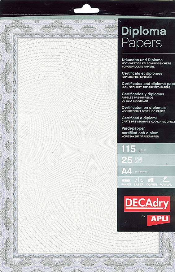 Decadry A4 Crtificte Ppr Bl Pack 25
