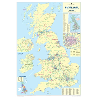 Image for Map Marketing Sales and Marketing Map Unframed 12.5 Miles/inch Scale W830xH1200mm Ref UKM