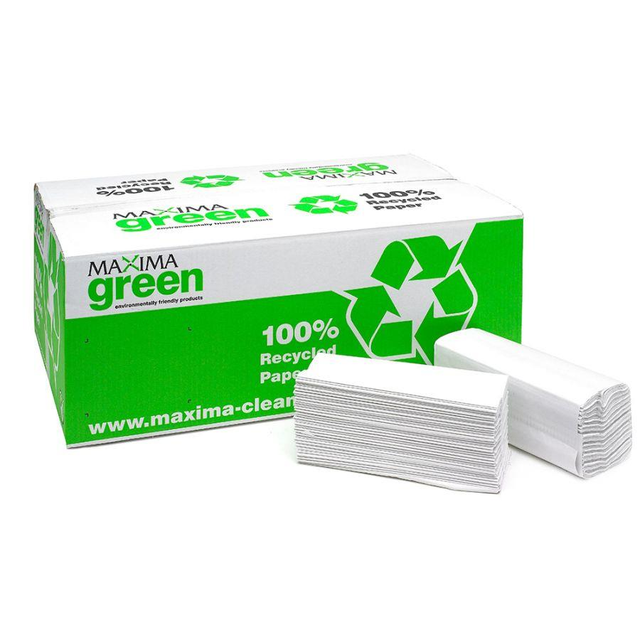 Maxima Green 2Ply C Fold Hand Towel White (Pack 15)