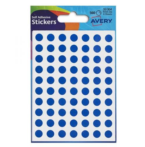Avery Packets of Labels Diam.8mm Blue Ref 32-304 [10x560 Labels]