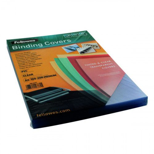 Fellowes Binding Cover PVC A4 200 Micron Clear (Pack 100) 5376102