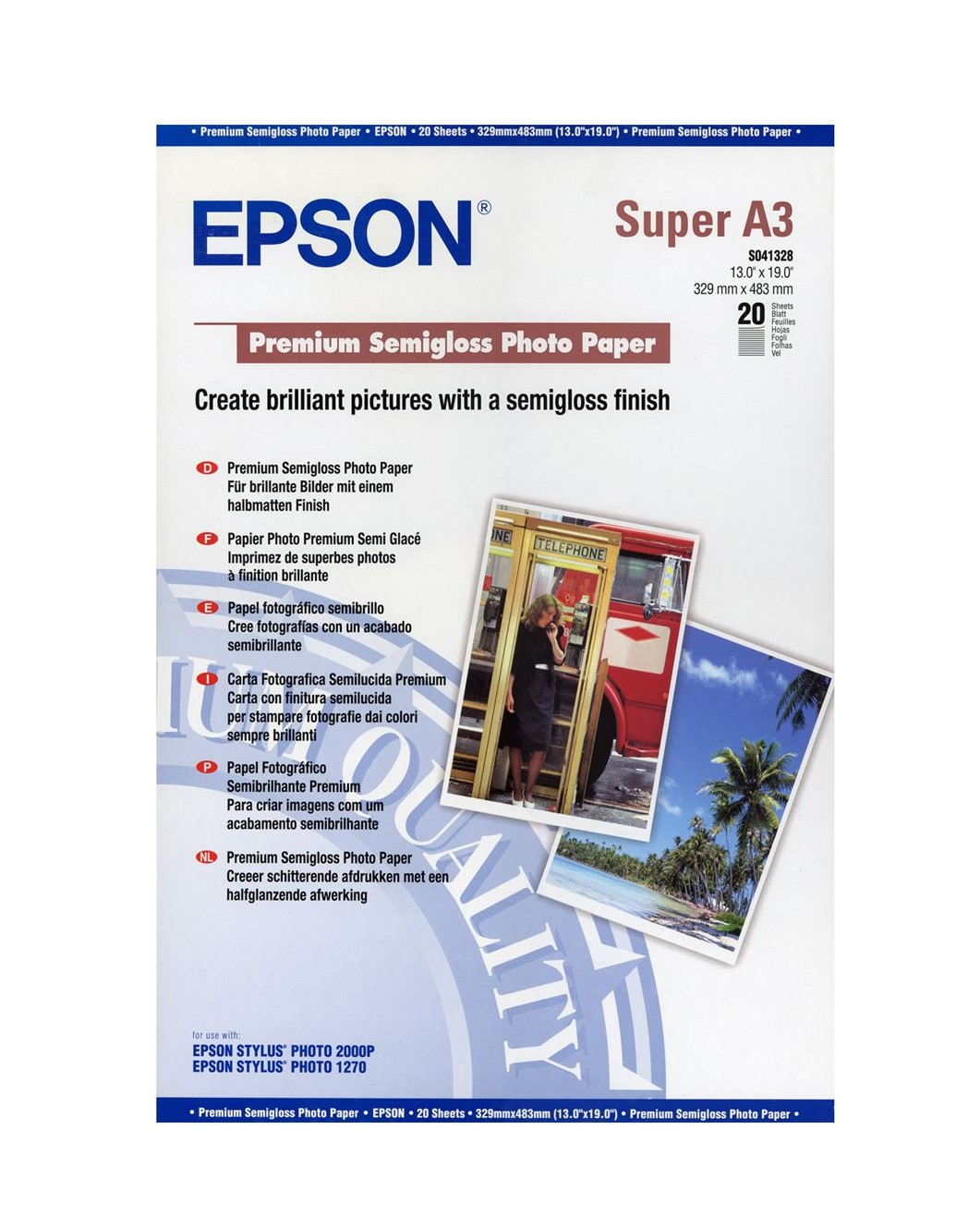Photo Paper Epson C13S041328 Semi Gloss Photo Paper A3Plus 20 Sheets