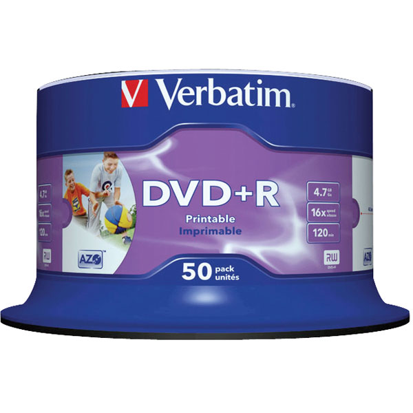 Verbatim DVD Plus R Inkjet Printable Spindle of 50