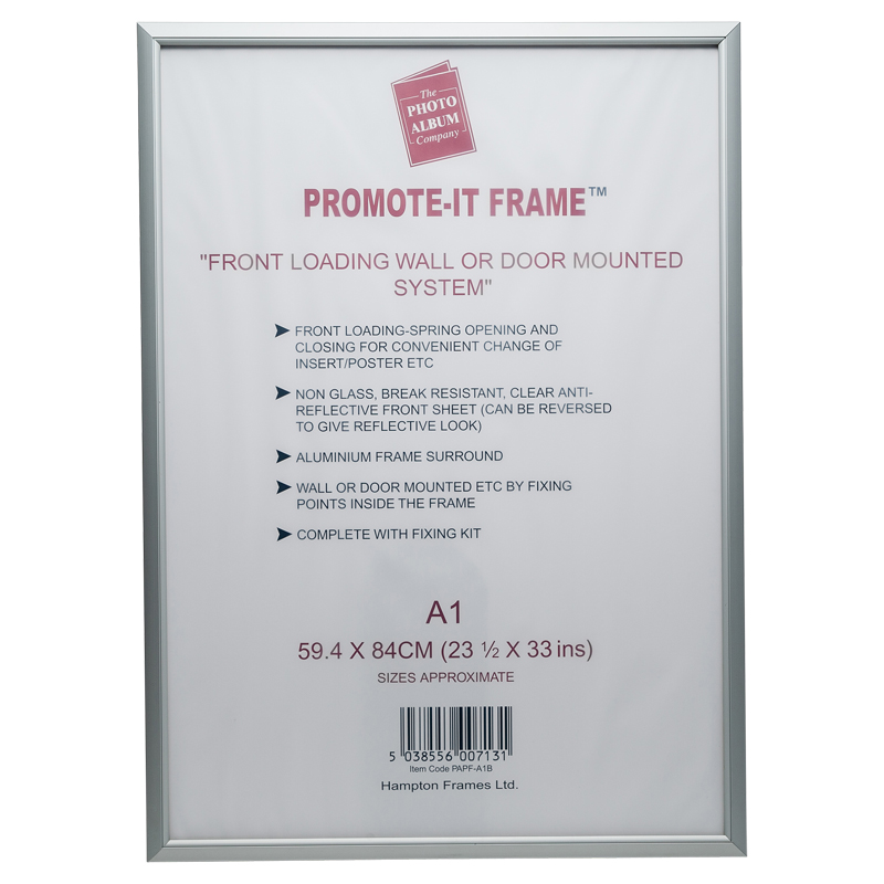 A1 Snap Frame Aluminium Front Loading Silver PAPFA1B