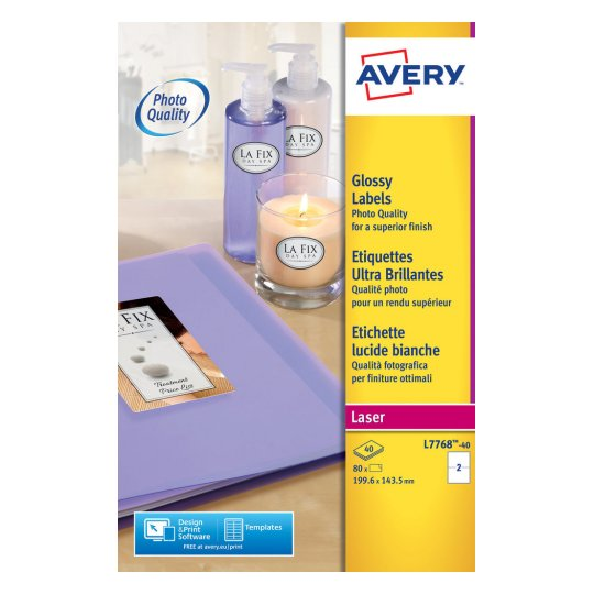 Avery Addressing Labels Colour Laser 2 per Sheet 199.6x143.5mm Ref L7768-40 [80 Labels]