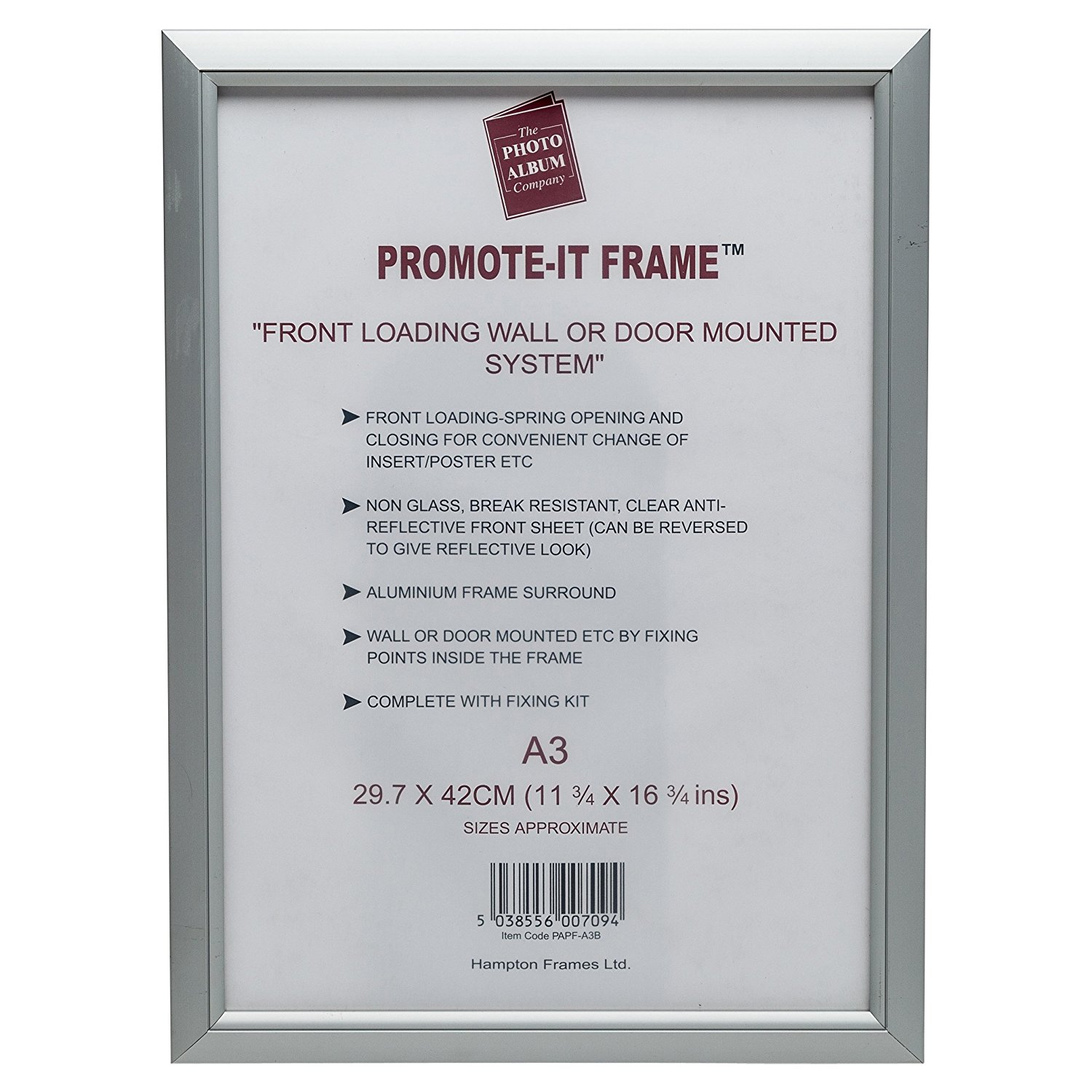 Certificate / Photo Frames Photo Album Co A3 Snap Frame Aluminium Front Loading Silver