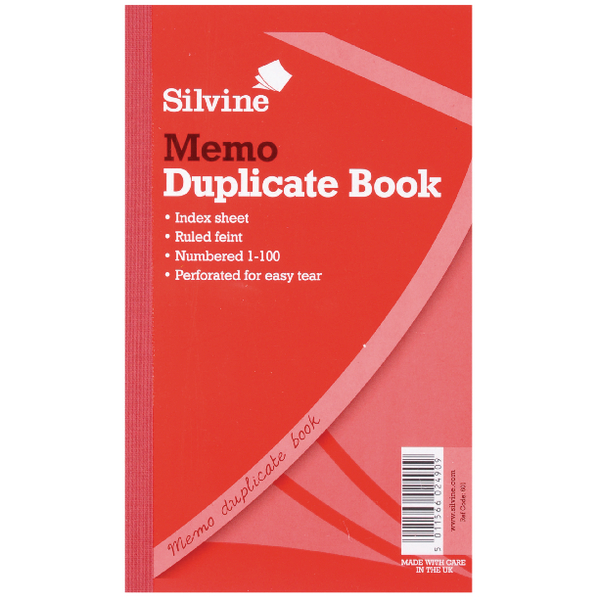 Silvine Dup Book Rule 81/4x5in PK6