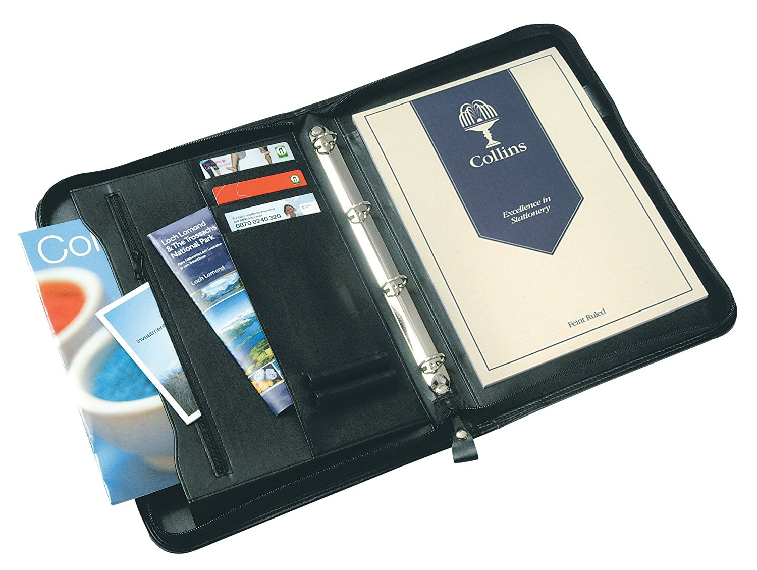 Potfolios Collins A4 Conference Ring Binder Zipped with 25mm Gusset Leather Look Black 7017