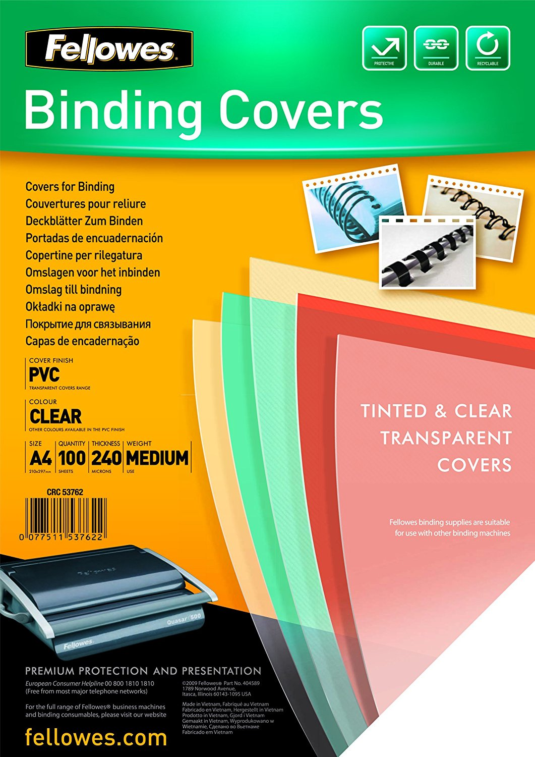 PVC Cover A4 240 microns Clear (PK100)