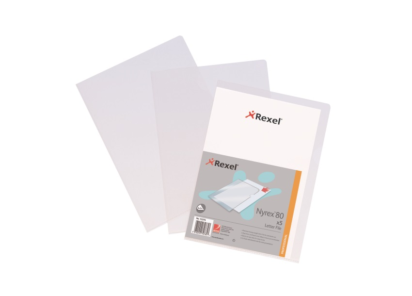 Rexel Nyrex 80 Letter File Folder Cut Flush Embossed 80/LF/A4 A4 Clear Ref 12280 [Pack 25]