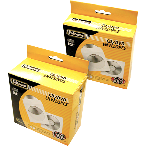 Fellowes CD/DVD Paper Envelopes White 90691 (PK100)