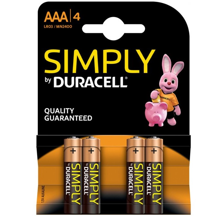 AAA Duracell AAA SIMPLY Batteries PK4