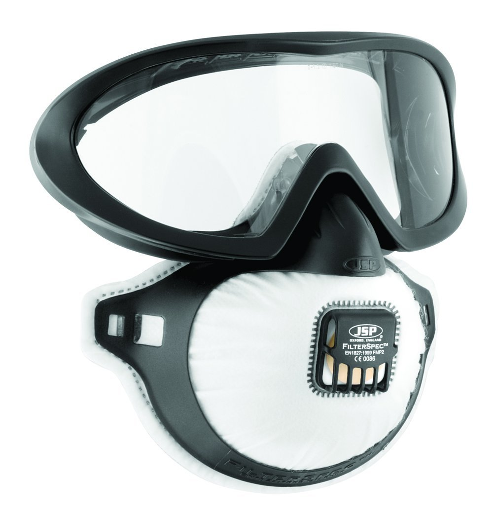 JSP FilterSpec Pro FMP2 Safety Goggle Mask Black 3 Valved Filters Anti-Mist Lens Clear Ref AGE120-201-100