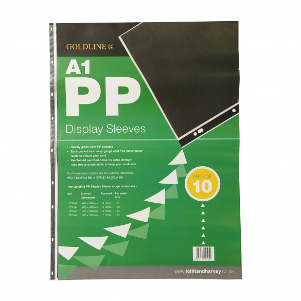 Display Sleeves Polypropylene Reinforced 150 Micron 9 Hole A1 Clear [Pack 10]