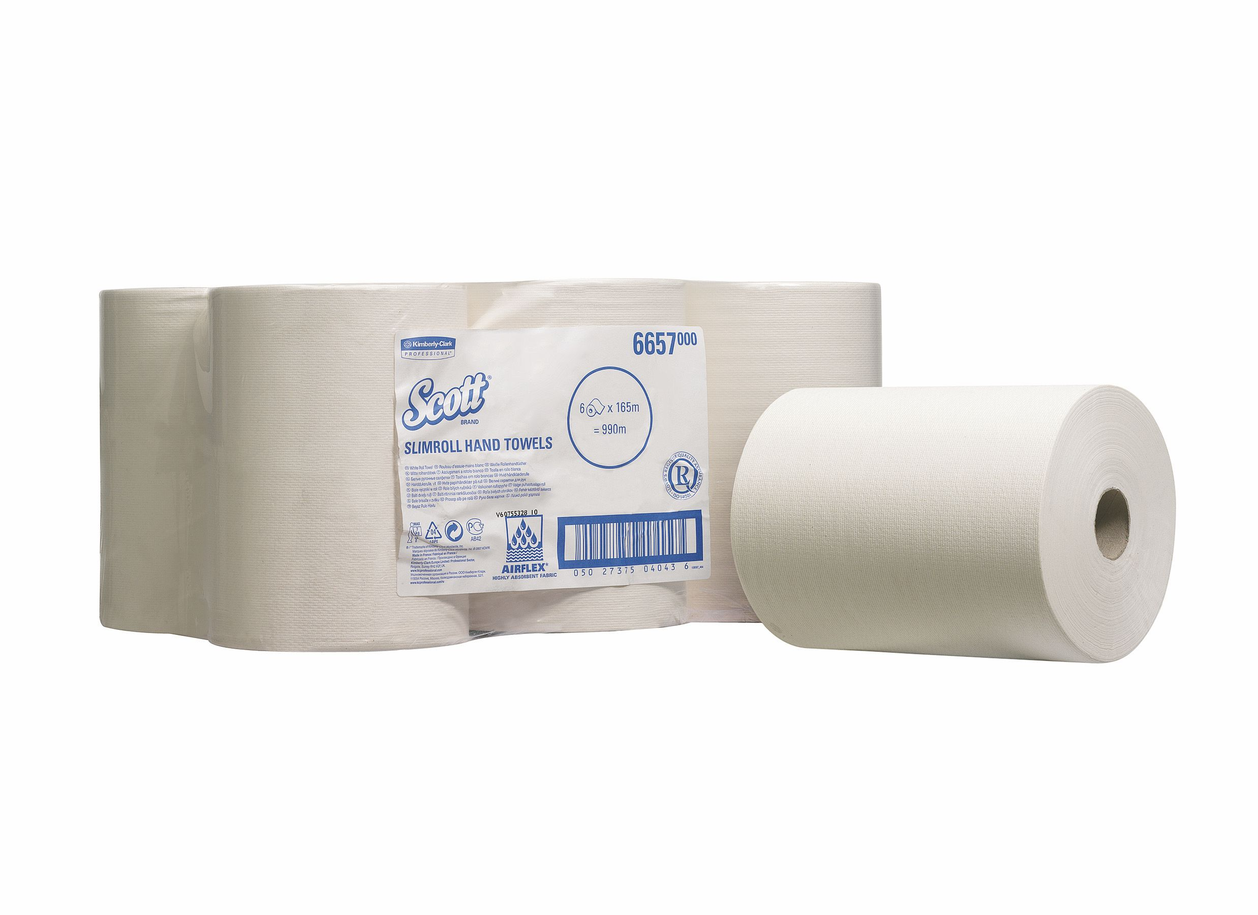 Scott Slimroll Hand Towel Single Ply White 200mmx165m Ref 6657 [Pack 6]