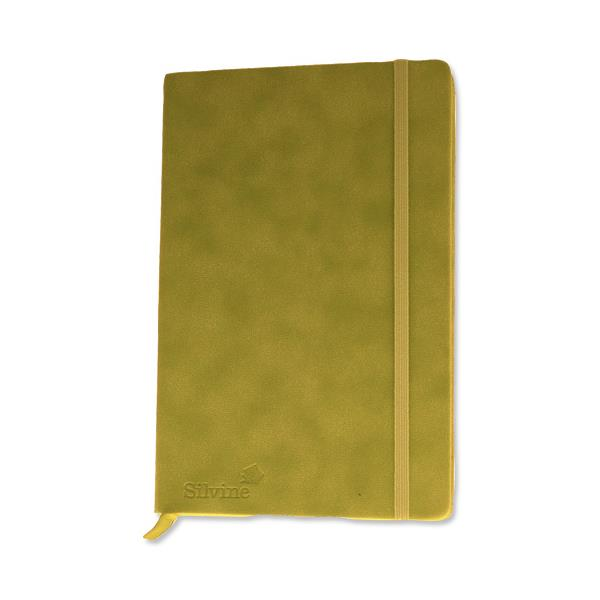 Silvine Executive Soft Feel Notebook Ruled with Marker Ribbon 160pp 90gsm A5 Lime Green Ref 197G