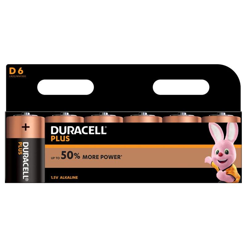 D Duracell Plus Power D Alkaline Battery (Pack 6) MN1300B6PLUS