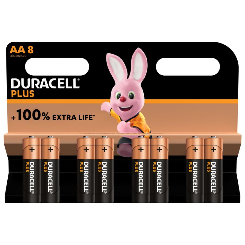 AA Duracell AA Plus Batteries PK8