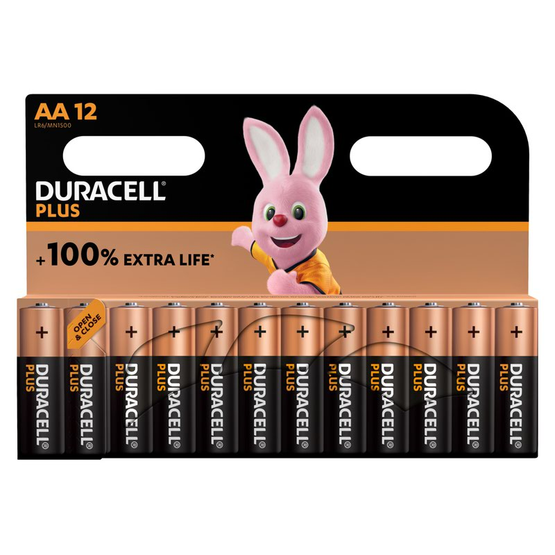 AA Duracell AA Plus Batteries PK12