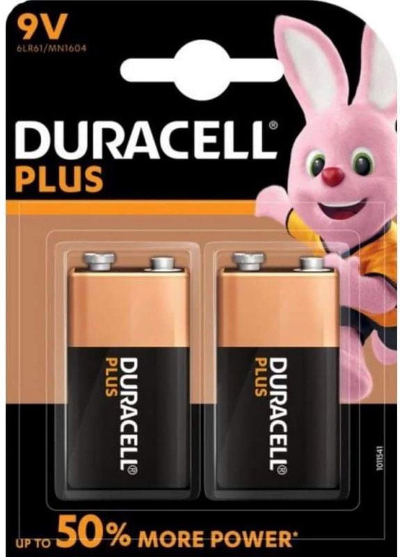 9V Duracell Plus Power 9V Alkaline Battery (Pack 2) MN1604B2PLUS