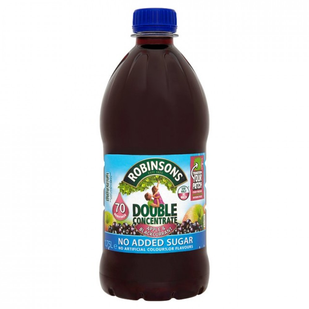 Cold Drinks Robinsons Double Conc Apple Blackcurrant 1.75Litre (Pack 2)