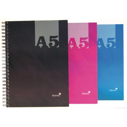 Spiral Note Books Silvine Luxpad A5 Wirebound Hard Cover Notebook Ruled 140 Pages Assorted Colours (Pack 12)
