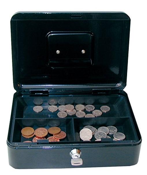 Value 25cm 10  Metal Cash Box BK