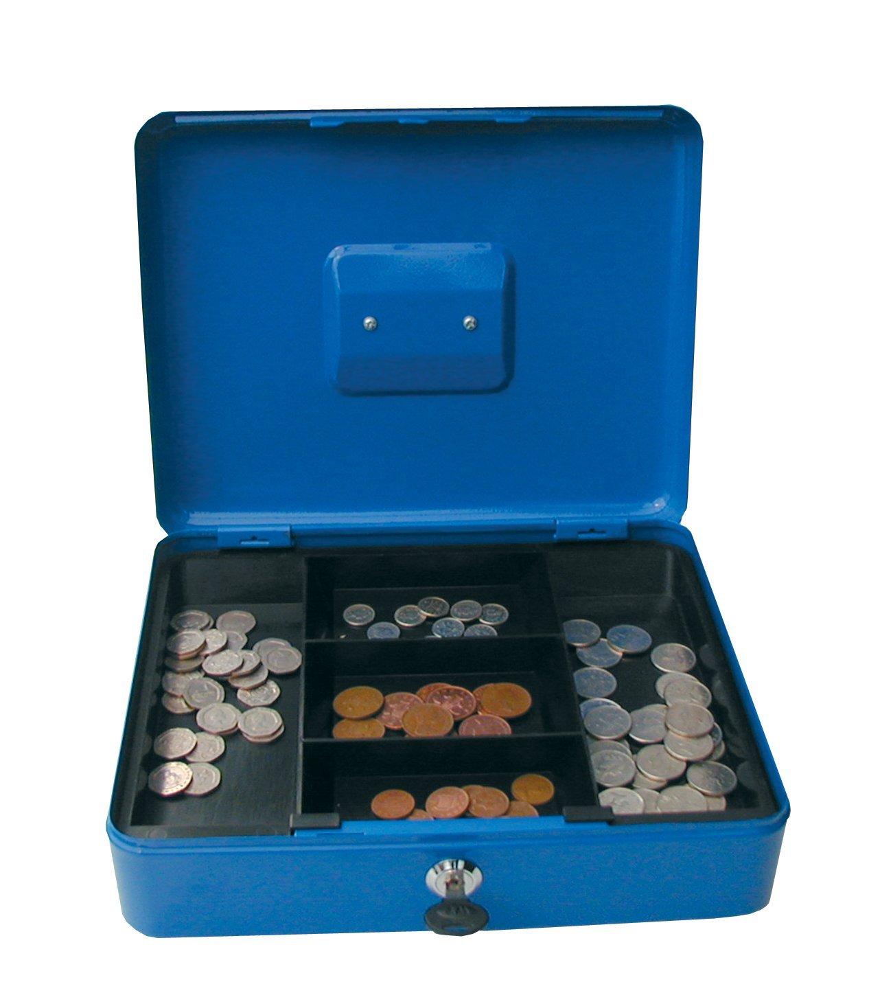 Value 30cm (12 Inch) key lock Metal Cash Box Blue