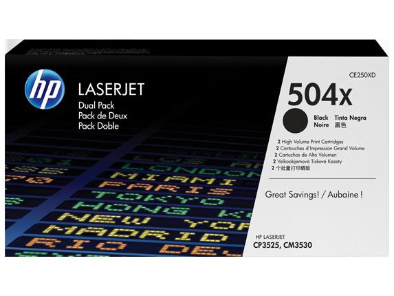 Hewlett Packard [HP] No. 504X Laser Toner Cartridge Page Life 2x10500pp Black Ref CE250XD [Pack 2]