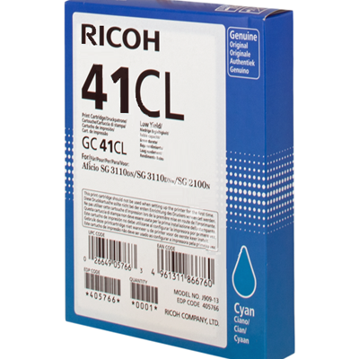 Ricoh 405766 GC41CL Cyan Gel Ink 600