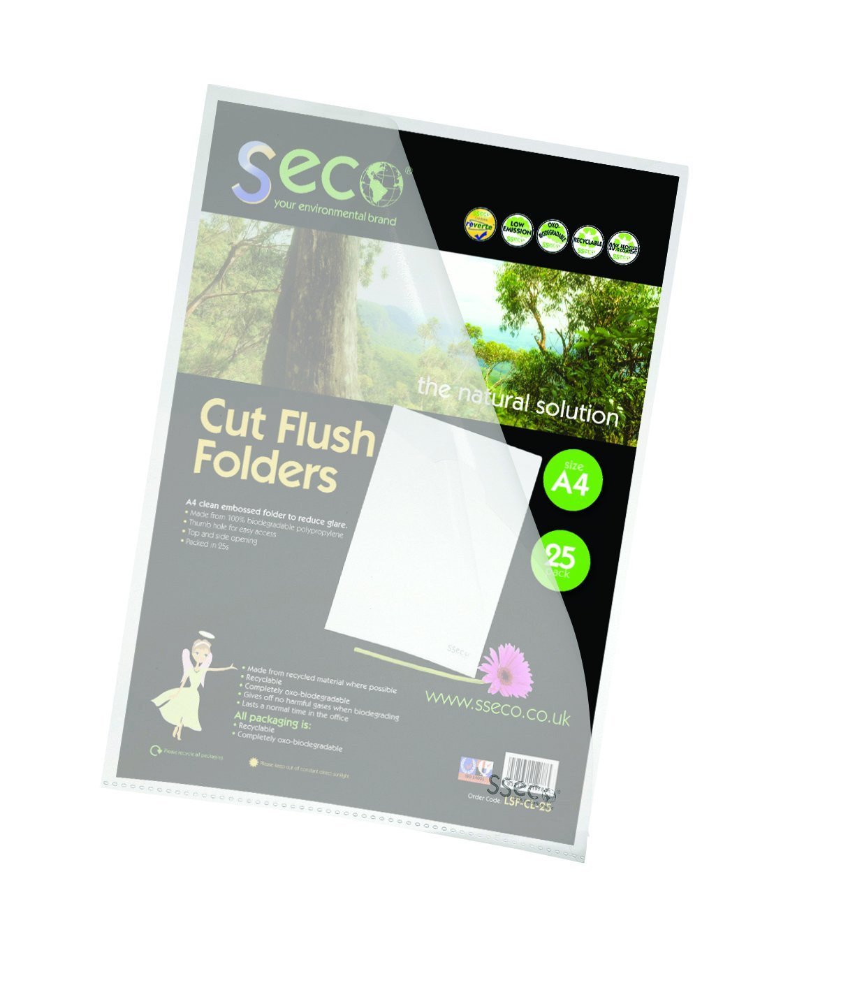 Clip Files Stewart Superior 100% Oxo Bio Clear Cut Flush Folders PK25