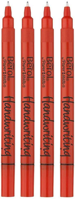 Berol Handwriting Pen Round Washable Bright Barrel Black (Pack 200)
