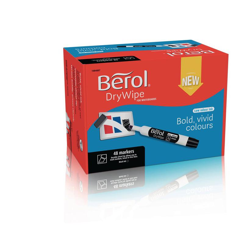 Berol Dry Wipe Whiteboard Marker Chisel 2mm 5mm Black (Pack 48)