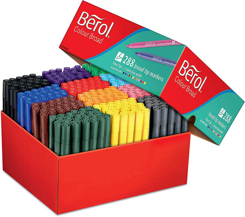 Berol Felt Tip Colouring Markers Broad 1.2mm Assorted PK288