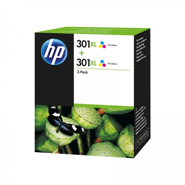 Inkjet Cartridges HP 301XL Tricolour Standard Capacity Ink Cartridge 6ml Twinpack - D8J46AE