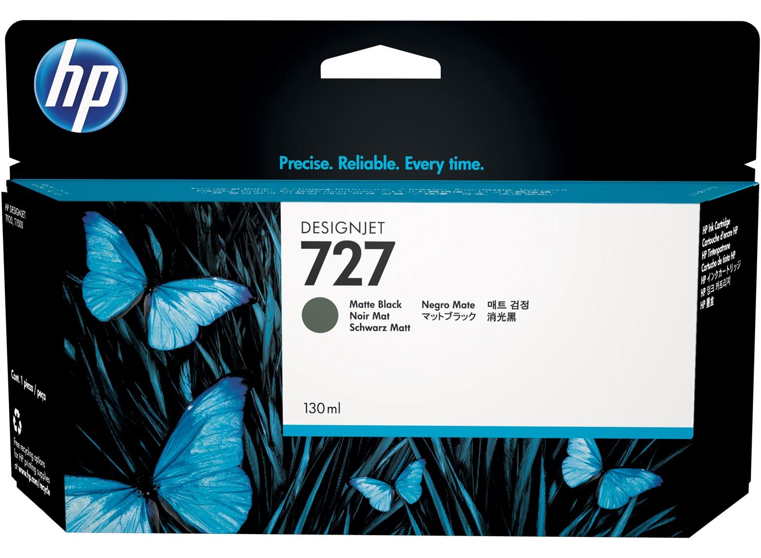 HP 727 130Ml Matt Ink Cart Black B3