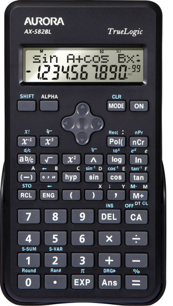 Aurora AX-582BL Calculator Scientific Black Ref AX-582BL