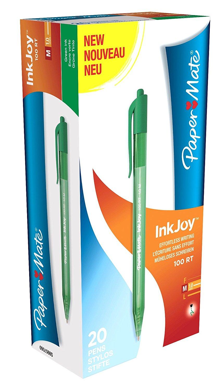 Paper Mate Inkjoy 100 Retractable Ballpoint Pen Medium 1.0mm Tip Green Ref S0957060 [Pack 20]