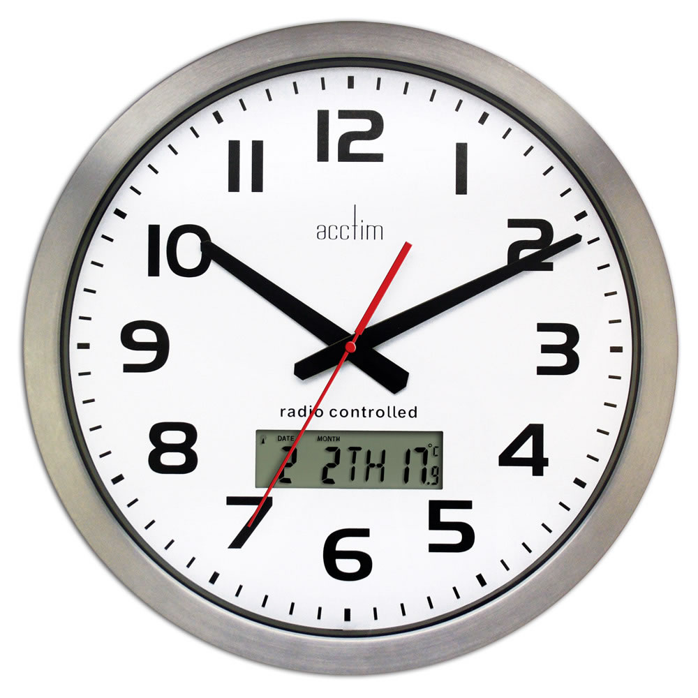Acctim Meridian Rc Wall Clock Alum 74447 Office Express Uk