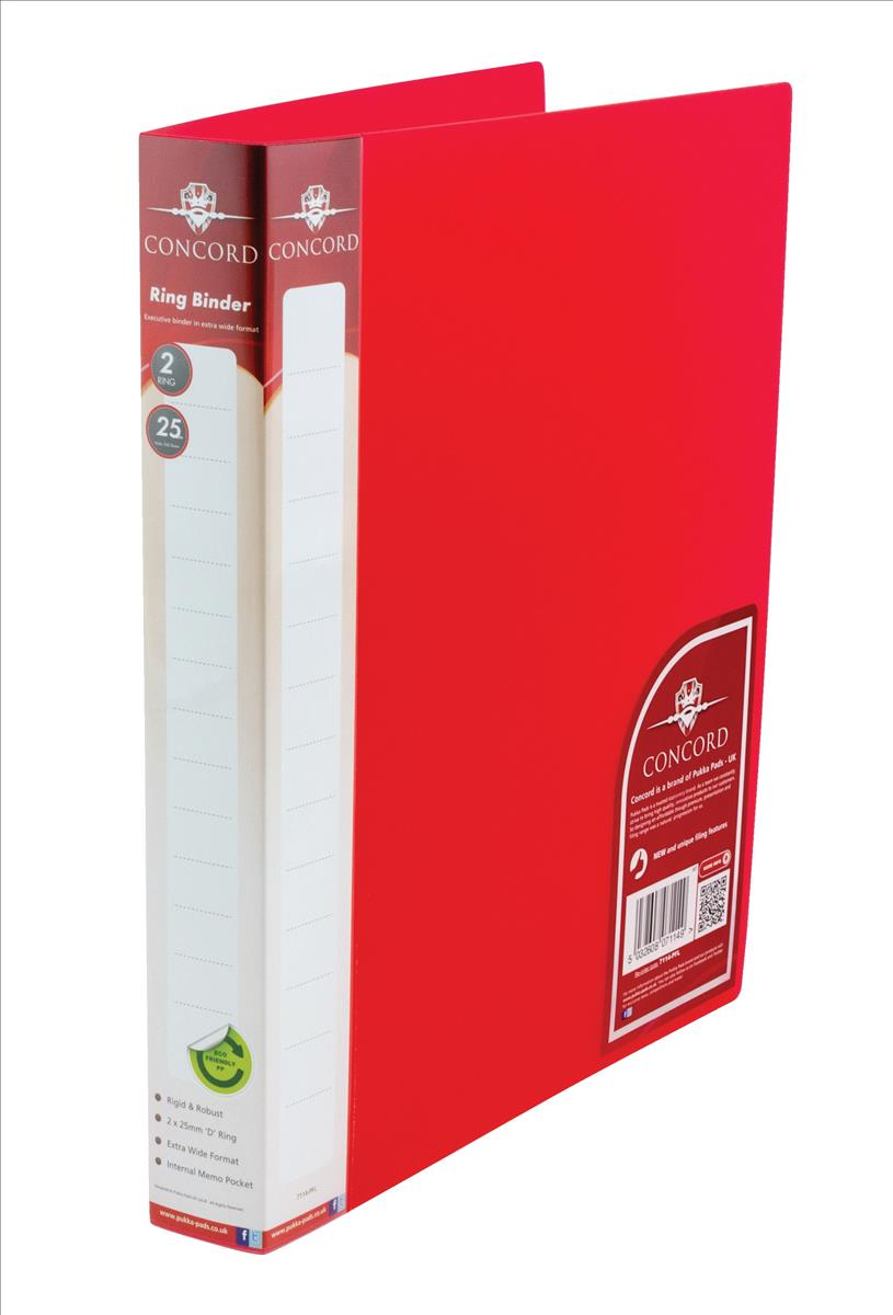 Concord Natural Ring BInder Polypropylene 2 O-Ring 25mm Size A4 Red Ref 7114-PFL [Pack 10]