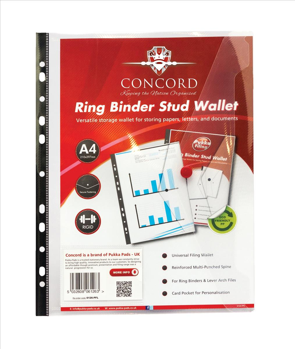 Concord Ring Binder Stud Wallet Reinforced Spine A4 Clear Ref 6126-PFL [Pack 5]