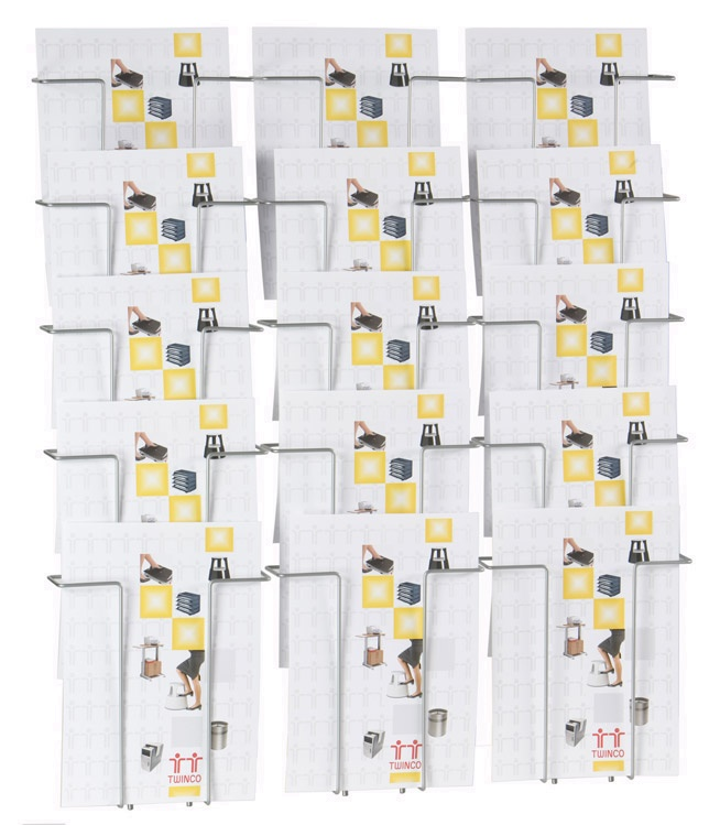 Twinco Literature Display Wall Mounted 15 Compartments A4 Silver Ref TW51208